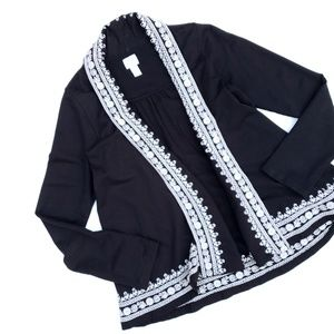 Lucky Brand Black White Embroidered Cardigan